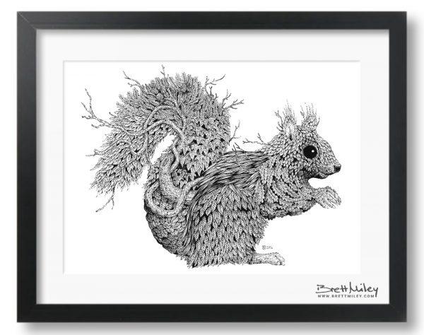 Leaf Squirrel Framed Original - by Brett Miley Art
