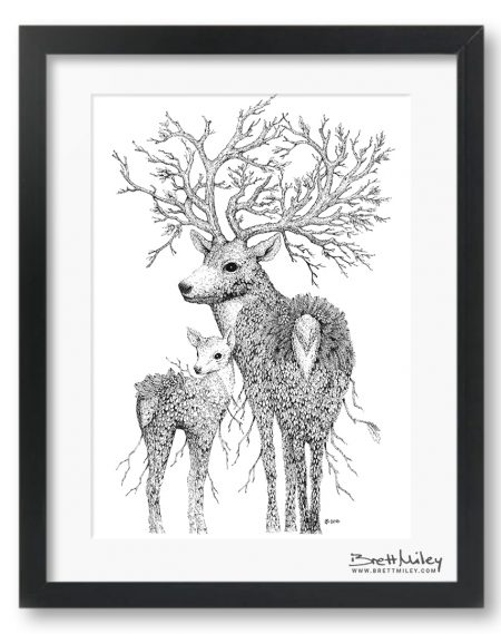 Leaf Stag and Deer Framed Original - by Brett Miley Art