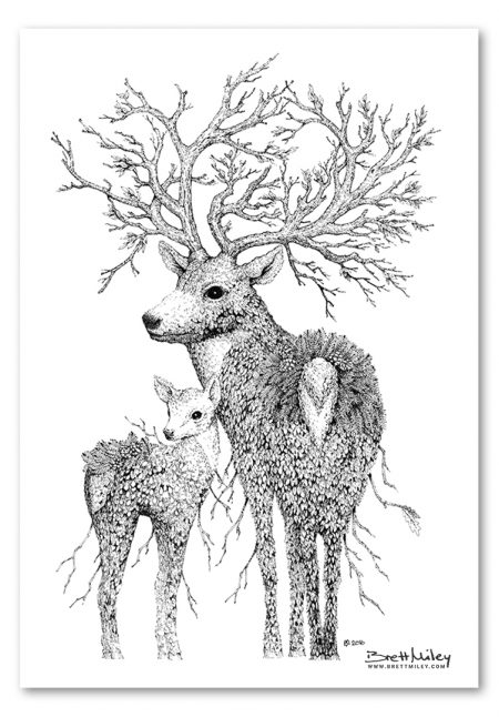 Leaf Stag Deer Print - Brett Miley Art