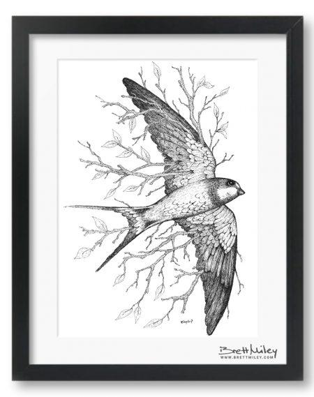 Leaf Swallow Framed Original - By Brett Miley