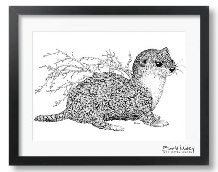 Leaf Weasel Framed Original - By Brett Miley Art