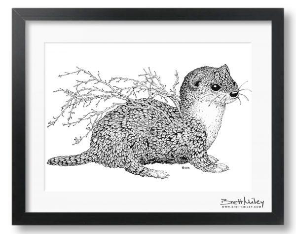 Leaf Weasel Framed Original - By Brett Miley Art