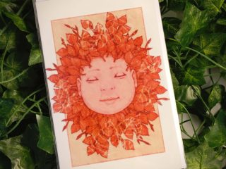Red Sleeping Baby Greetings Cards - Brett Miley Art