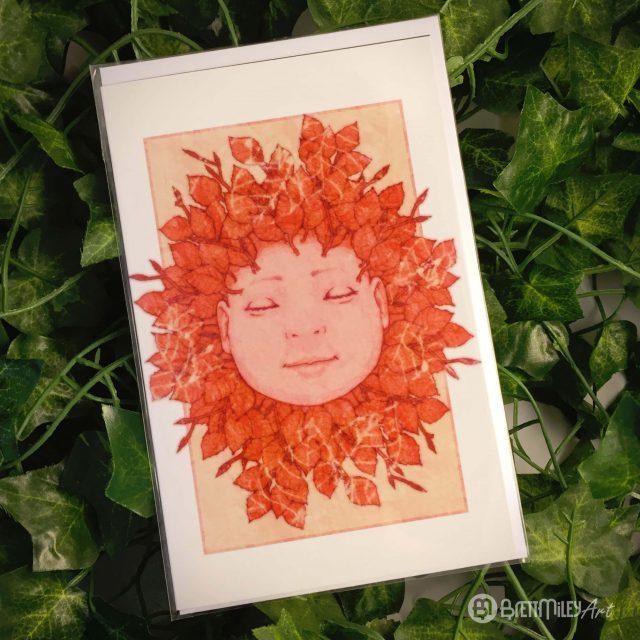 Red Sleeping Baby Greetings Cards - Brett Miley Art