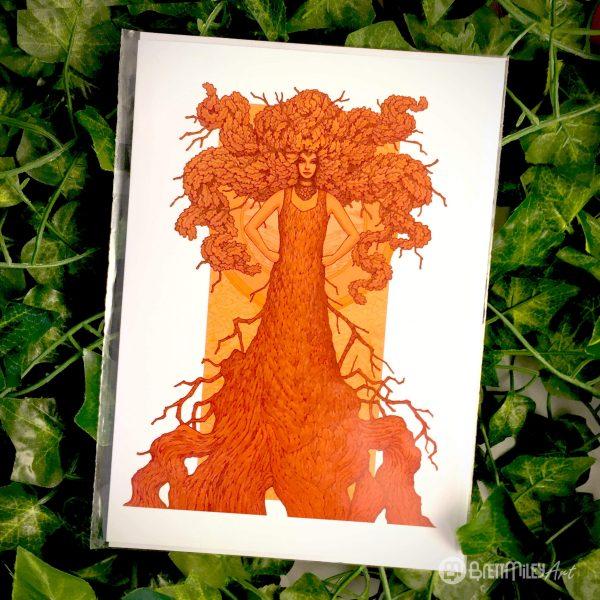 Robur the Oak of Strength and Wisdom Greetings Card - Brett Miley Art