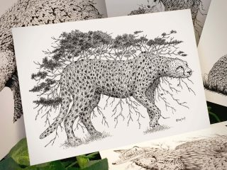 Tree Cheetah Postcard - Brett Miley Art