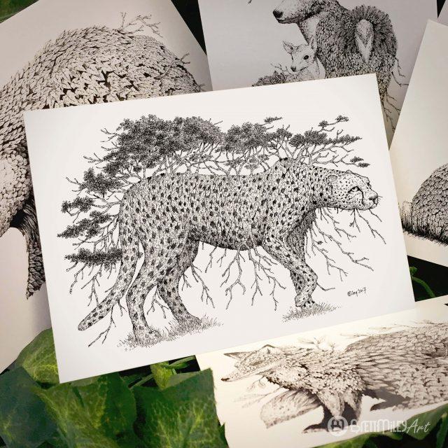 Tree Cheetah Postcard - Brett Miley Art