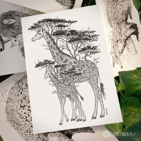 Tree Giraffes Postcard - Brett Miley Art