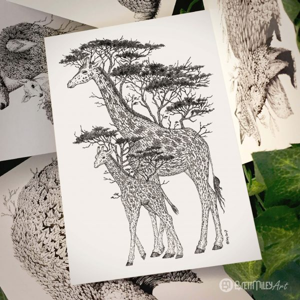 Tree Giraffes Postcard - Brett Miley Art