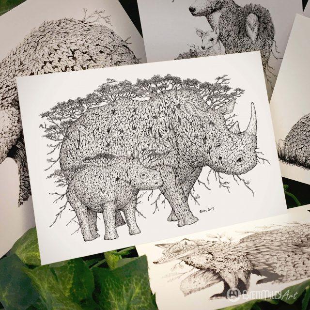Tree Rhinos Postcard - Brett Miley Art