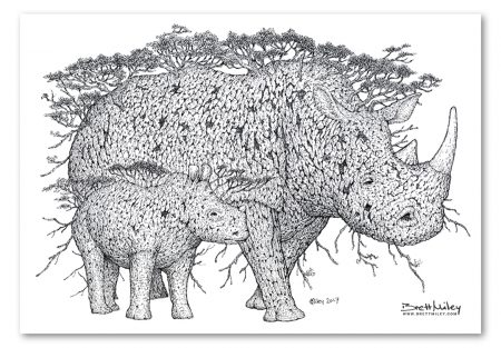 Tree Rhinos Print - Brett Miley Art