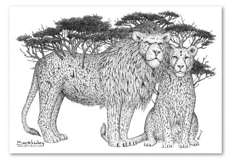 Tree Lions Print - Brett Miley Art