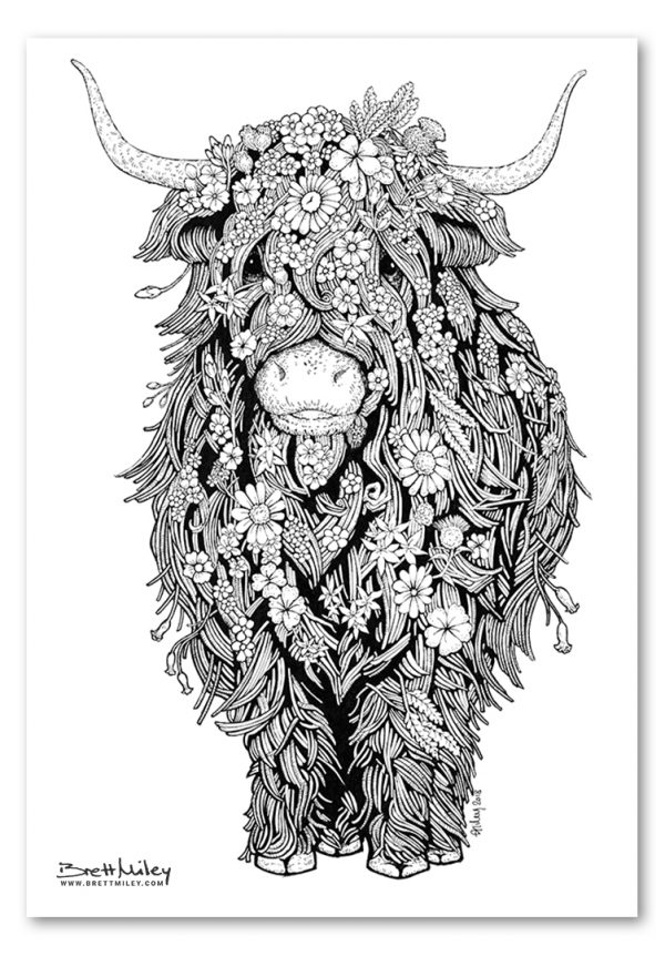 Highland Cow Art Print by Brett Miley Art