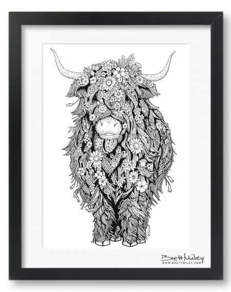 Highland Cow Framed Original Art - By Brett Miley Art