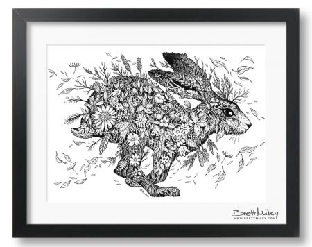 Meadow Hare Framed Original Art - By Brett Miley Art