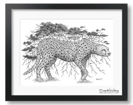 Tree Cheetah Framed Original Art - By Brett Miley Art