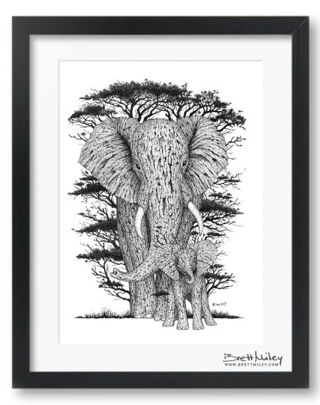 Tree Elephants Original Art - Brett Miley Art