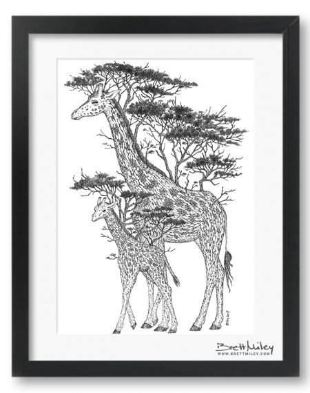 Tree Giraffes Framed Original Art - By Brett Miley Art