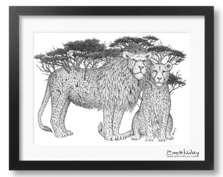 Tree Lions Framed Original Art - By Brett Miley Art
