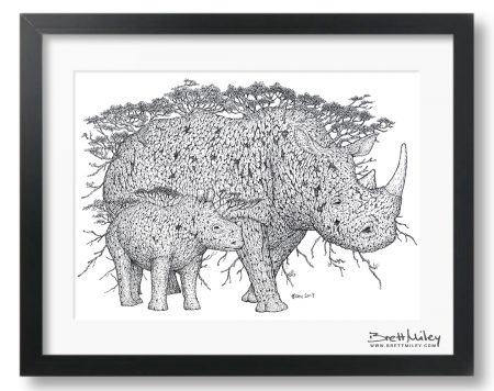 Tree Rhinos Framed Original Art - By Brett Miley Art