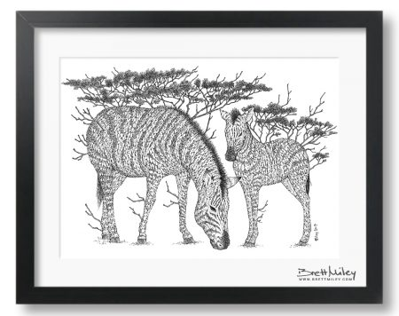 Tree Zebras Framed Original Art - By Brett Miley Art