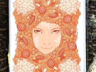 Frozen Pine Wreath - by Brett Miley Art