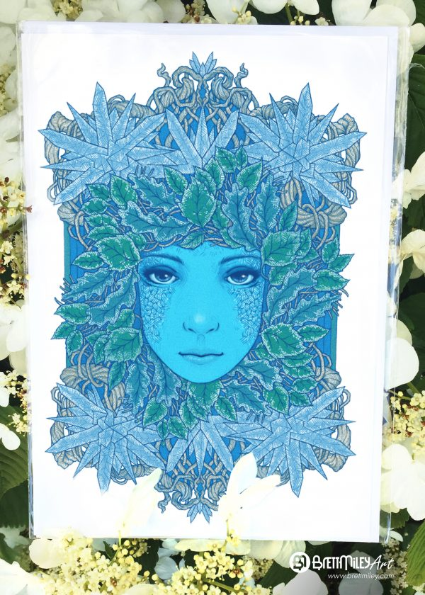 Frozen Leaves Card - by Brett Miley Art