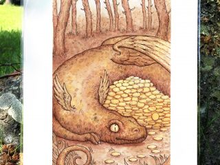 Dragon Gold Print - by Brett Miley Art