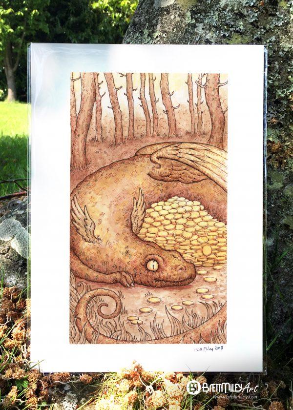 Dragon Gold Print - by Brett Miley Art