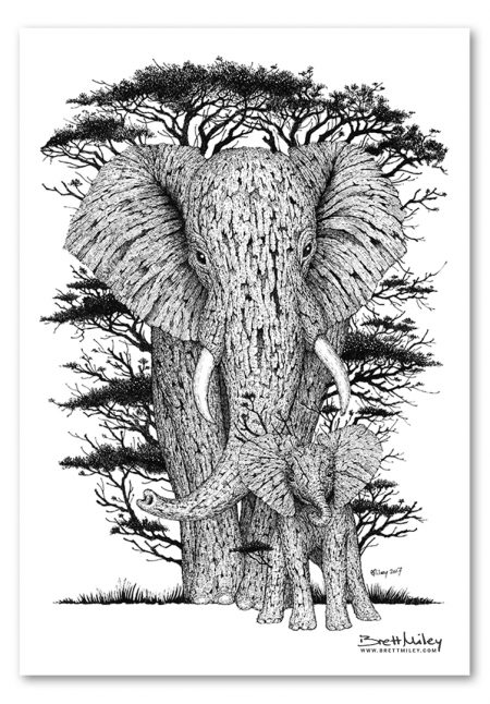 Tree Elephants Print - Brett Miley Art