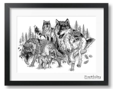 Forest Wolves Art Ink A4 by Brett Miley Art
