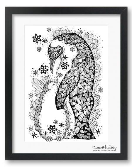 Ice Crystal Penguins - Brett Miley Art