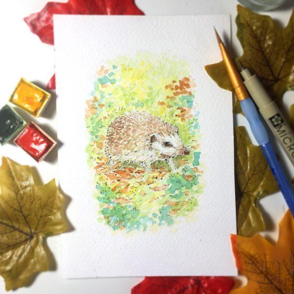 Hedgehog Daily Watercolour Art by Brett Miley