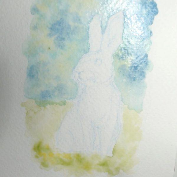 Rabbit Watercolour Art by Brett Miley