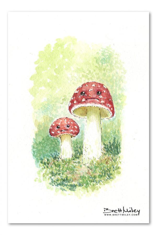 Mushrooms Watercolour Art by Brett Miley