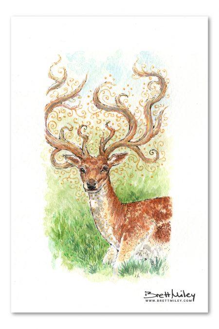 Stag Watercolour Art by Brett Miley