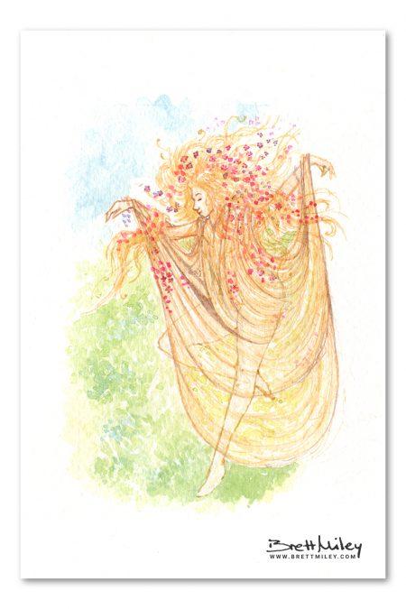 Spring Fairy Watercolour Art by Brett Miley