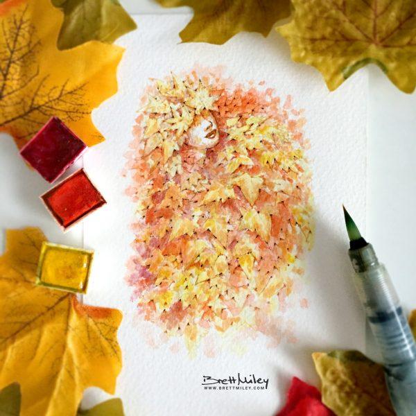 Autumn Leaf Fairy Watercolour Art by Brett Miley