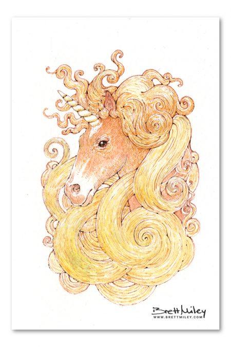 Unicorn Watercolour Art by Brett Miley